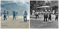 Enfrentamientos entre estudiantes de la UCV y cuerpos de seguridad. Derecha: 2014 Izquierda: década 60 (ARCHIVO EL NACIONAL)