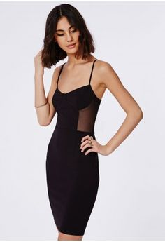 We are lusting over this sassy black bodycon dress; a perfect addition to every party girls wardrobe. This fiercely flattering stretch crepe fabric with mesh insert detailing, bust cup bra detailing and slinky straps will leave everyone at ...
