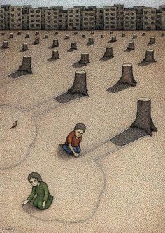"""""""Tsja kinderen, we deden het voor jullie, want dankzij de biomassa konden jullie lekker warm binnen spelen, en wij lekker geld verdienen. En hout is een hernieuwbare energiebron, dus als het goed is staan er elk moment weer nieuwe bomen."""""""