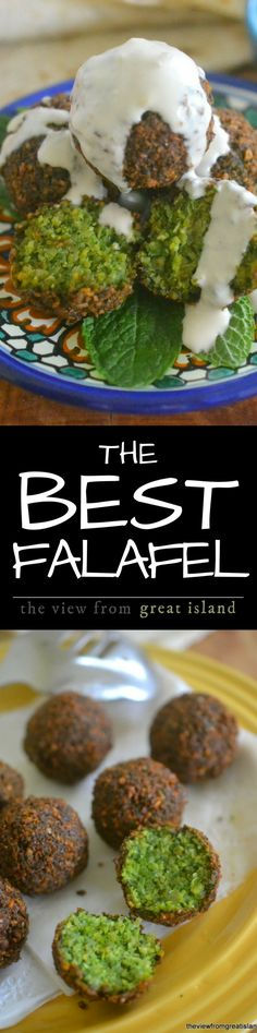 The Best Falafel is crispy on the outside, a brilliant emerald green on the inside, with tons of flavor and a great fluffy texture! | Middle Eastern | appetizer | Vegetarian | Vegan |