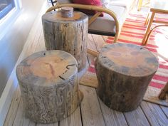 Three pine stump tables. Great for a cabin, either inside or out. John Gabrielson