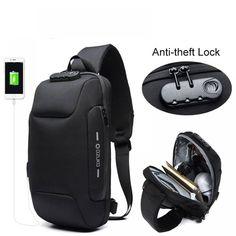 The Best Multifunction Sling Bag Male Lock Design Anti-theft Men's Bags & Wallets Usb, Digital Lock, Cheap Crossbody Bags, Anti Theft Backpack, Zara, Short Trip, Sling Backpack, Sling Bags, Oxford