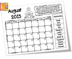 Teaching With Love and Laughter: Free Clip Chart Calendars for 2013-2014