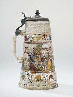 Covered Tankard:Right side 1578 German Beer Mug, German Beer Steins, Canteen Bottle, Beer History, Painted Cups, Getty Museum, Beer Mugs, Antique Glass, Glass Art