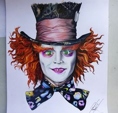Sombrerero Loco / The Mad Hatter  Alice in Wonderland  Creyones sobre papel  45…                                                                                                                                                                                 More