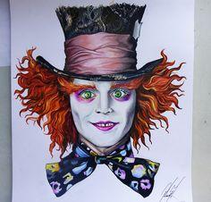 Sombrerero Loco / The Mad Hatter  Alice in Wonderland  Creyones sobre papel  45…