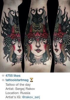 Traditional Girl/Demon tattoo