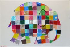 The colleagues from kindergarten did this elephant with their classes. Art Activities For Kids, Fun Crafts For Kids, Art For Kids, Auction Projects, Art Auction, Art Projects, Kindergarten Art, Preschool Art, Elmer The Elephants