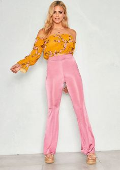 1a3c91791a6 Missyempire - Maria Pink Silky High Waist Flare Trousers Pink