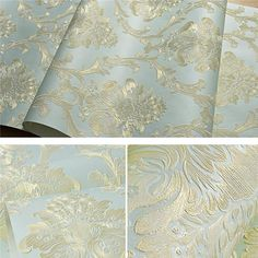 Removable Peel and Stick Damask Wallpaper Mural Roll Prepasted Self Adhesive Non-Woven Fabric Home Decor Wall Paper
