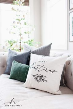 Simple Christmas Decor - A few cozy pillows and a tree bring this living room into the Christmas season. How would these holiday look on your couch? Shop all our new styles for the holidays at Linen & Ivory. Merry Christmas, Modern Christmas, Simple Christmas, Xmas, Woodland Christmas, Green Christmas, Country Christmas, Outdoor Christmas, Christmas Living Rooms