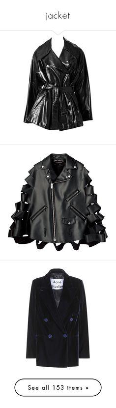 """jacket"" by lilkliu ❤ liked on Polyvore featuring outerwear, coats, jackets, coats & jackets, patent coat, double breasted coat, double breasted trench coat, short double breasted coat, alaia coat and leather jacket"