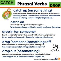 English phrasal verbs with Catch/drop English Verbs, English Phrases, English Writing, English Vocabulary, English Grammar, English Articles, English Tips, English Lessons, Learn English
