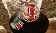Concrete cast / hand painted OHIO state buckeye jack-o-lantern pumpkin.