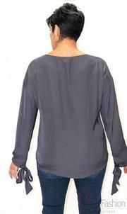 Long sleeve tie cuff blouse hand wash model is wearing medium true size Fashion Boutique, Tie, Medium, Blouse, Long Sleeve, Model, How To Wear, Collection, Long Dress Patterns