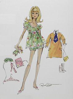 (¯`'•.♪♫…  Barbie Illustration  ...............................by Robert Best. Nighty Brights Francie