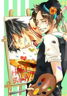 One Piece | Ace painting Luffy, how cute!