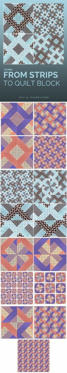 From strips to quilt block tutorial - you can make many quilt designs with just the half square triangles you obtain after making this tutorial