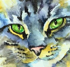 Christy Freeman | WATERCOLOR | Gray Tabby Striped Cat