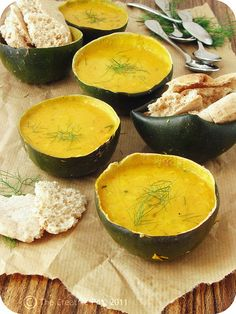 Harissa-spiced gem squash soup from http://www.thecreativepot.net