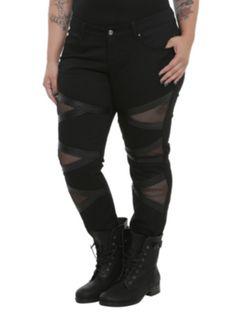 Tripp Black PU Mesh Denim Jeans Plus Size