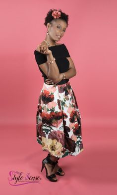 Going to a special event?  Give 'em a little shoulder honey! This black off the shoulder top, works perfect with this floral flare skirt!  The rose gold jewelry makes the flowers in the skirt pop! The black patent shoes finish it off just perfect! Simple yet elegant!  Cost $150.00 Black Patent Shoes, Triquetra, Rose Gold Jewelry, Flare Skirt, Special Events, Off The Shoulder, Honey, Jewelry Making, Pop