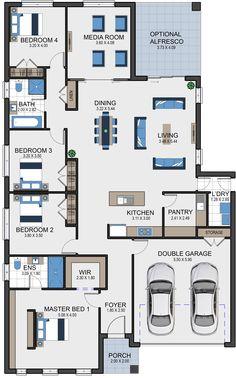 Austen 25 Vesta Homes House Layout Plans, Bungalow House Plans, Family House Plans, Bungalow House Design, Bedroom House Plans, Dream House Plans, Small House Plans, House Layouts, Modern House Floor Plans
