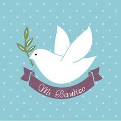 Frente invitación para Bautizo paloma