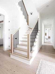 Four Elements of a Beautiful Staircase - Plank and Pillow There are so many components that go into House Staircase, Staircase Remodel, Staircase Makeover, Staircase Railings, Staircase Ideas, Banisters, Metal Spindles, Entryway Stairs, Spiral Staircases