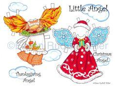Kleine Puppe von Angel-Holiday-Ausschnitt von PaperDollsbyERMiller