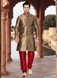 Indian Ethnic Wedding Partywear Men's Traditional Sherwani Churidar N Free stole Sherwani Groom, Mens Sherwani, Wedding Sherwani, Wedding Men, Menswear Wedding, Wedding Groom, Fancy Buttons, Ethnic Wedding, Royal Look