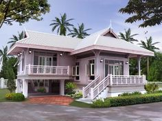 Stunning tropical home Cottage House Designs, Village House Design, Village Houses, Cottage Homes, Thai House, Asian House, Modern Bungalow House, Modern House Design, Style At Home