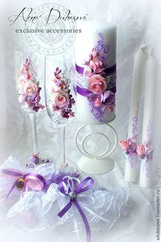 Купить Комплект фиолетово-розовый - сиреневый, фиолетовый, розовый, белый, свадьба, свадебные аксессуары