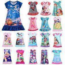 Kids Girl Nightie Nightdress Cartoon Character Pyjamas Sleepwear Nightwear 2-13Y