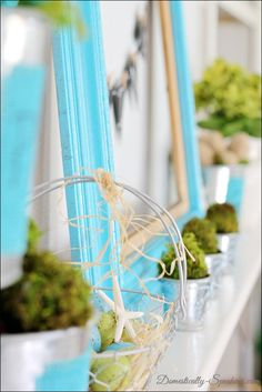 Domestically-Speaking.com:  Beautiful blue & green Spring Mantel