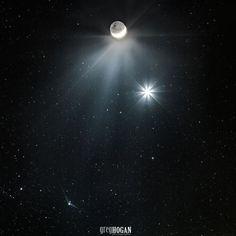 Greg Hogan of Kathleen, Georgia, of December 7 moon, Venus and Comet Catalina.  Greg told EarthSky: