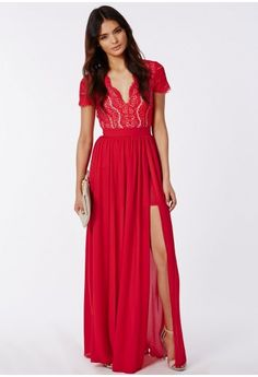 Radiate class this season in this stunning red lace maxi dress. With luscious lace top with cropped sleeves and long flowing chiffon skirt with daring double split to the front for a smokin' finish. Style this with nude heels and accessor...