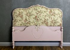 Vintage frame painted Dusty Rose with Rose Linen Fabric #shabbychic #upholstered #fullbed #cottagefurniture Shabby Chic Upholstered Bed, Cool Paintings, Painting Frames, Painted Furniture For Sale, English Country Decor, House Wiring, Cottage Furniture, Painted Cottage, Cabbage Roses