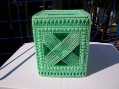 Plastic Canvas Green Tissue Box Cover by CraftingAddiction on Etsy, $6.00