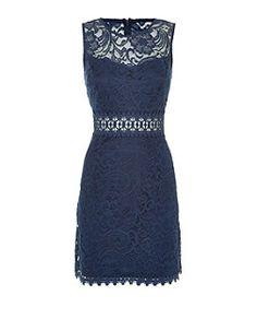 Navy Sleeveless Baroque Lace Sheer Panel Dress | New Look