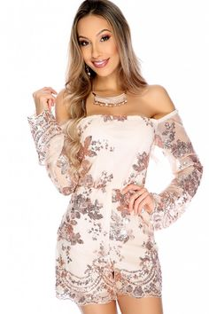 dd6ef12e2da Sexy Rose Gold Beige Floral Sequin Off The Shoulder Long Sleeve Dressy  Romper Sheer Long Sleeve