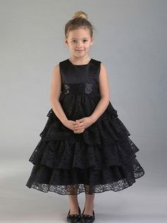Black 4 Layered Lace Flower Girl Dress (Sizes 2T-10 in 2 Colors)