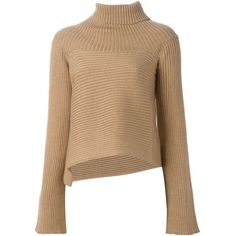 Maison Margiela ribbed knit asymmetric sweater ($935) ❤ liked on Polyvore featuring tops, sweaters, asymmetrical hem sweater, long sleeve tops, rib knit sweater, ribbed sweater and maison margiela