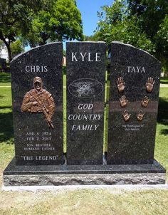 "P Navy SEAL Chris Kyle who served as a sniper in the US Navy SEALs and is best known to the American public from writing his memoir, ""American Sniper"" ~. Military Quotes, Military Life, Military Service, Gi Joe, Famous Tombstones, Us Navy Seals, Famous Graves, Real Hero, American Soldiers"