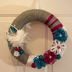 "14"" Handmade Summer/Fall Wreath Grey, Magenta Pink, Teal Blue, and White with Feather Embellishment Yarn Wrapped with Flowers by TheQuillery on Etsy"