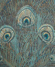 Turquoise Hera Print Linen Union, Liberty Furnishing Fabrics.