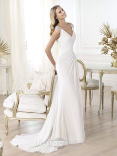 Elegant V-neck Draped Wedding Dresses with Semi-sheer Back Flared Skirt