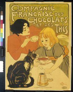 """""""Compagnie française des Chocolats et des thés"""" de Théophile Alexandre  Steinlen (1859-1923). Paris, Bibliothèque nationale de France (BnF) - Photo (C) BnF, Dist. RMN-Grand Palais / image BnF"""