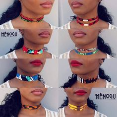 I want them all!!! ~African Prints, African fashion styles, african choker necklaces African Print Fashion, Africa Fashion, Modern African Fashion, Fashion Prints, African Fashion Ankara, Latest African Styles, African Ankara Styles, African Print Dresses, African Dress