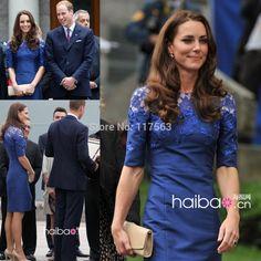 Kate Middleton Maternity Dress High Neck Lace Half Sleeve Sheath Short Royal Blue Elegant Evening Gowns Cocktail Dresses CD074(China (Mainland))